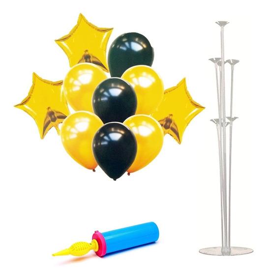 Set Globos Metalizados Negro Y Dorado + Base E Inflador