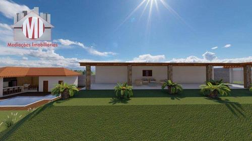 Linda Chácara Com 04 Dormitórios, Piscina, Salão De Jogos, Bem Localizada,  À Venda, 1000 M² Por R$ 450.000 - Zona Rural - Pinhalzinho/sp - Ch0982
