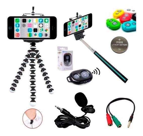 Kit Youtuber Microfone De Lapela P/ Celular + Acessorios