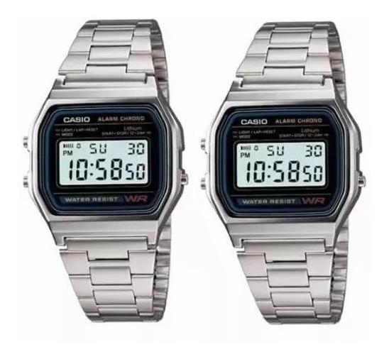 2 Relógios De Pulso Digital Retro Vintage A168 Prata - Usado