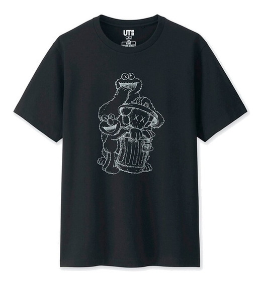 Uniqlo Kaws X Sesame Street T Shirt Trash Bin Black