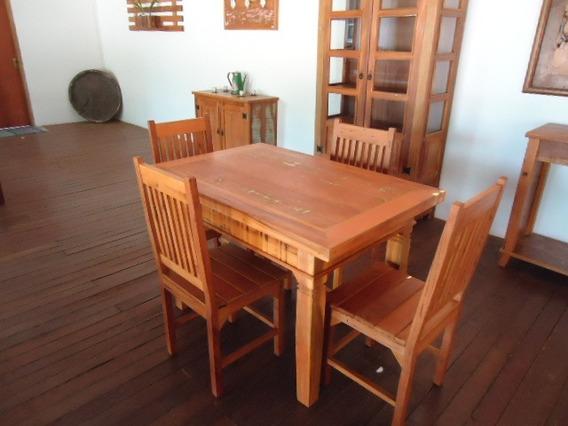 Mesa De Jantar Com Quatro Cadeiras Madeira De Demolição