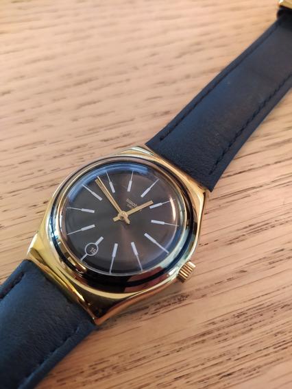 Relógio Swatch Modelo Last Run Ylg405g Pulseira Couro Usado