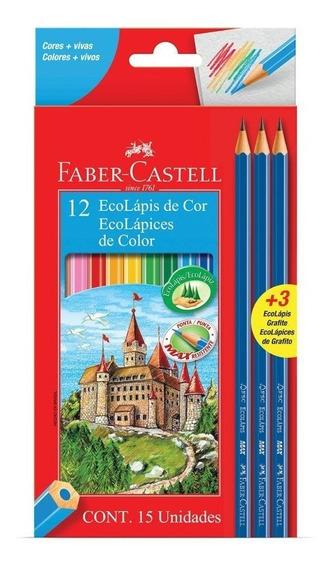 Lápis De Cor 12 Cores Faber-castell + 3 Lápis De Escrever