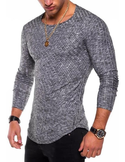 Playera Hombre Caballero Slim Fit Manga Larga Moda Casual