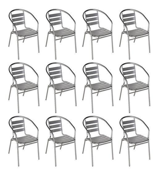 12 Poltronas Cadeiras Mor Alumínio Jardim Áreas Externas
