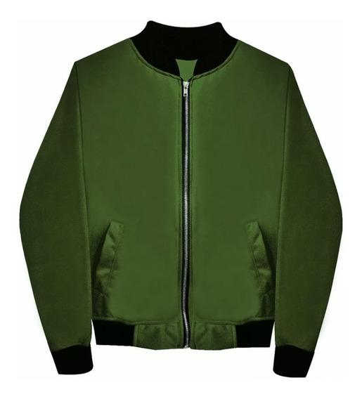 Chamarra Bomber Jacket Con Cierre Verde Militar Moda