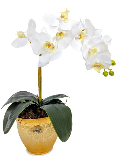 Arranjo Orquideas Artificiais - Vaso Prateado Dourado Flores