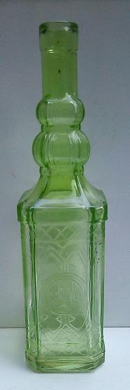 Antigua Botella De Vidrio Verde Labrado
