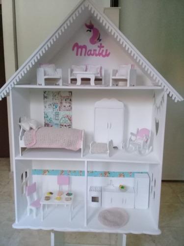 Casita De Muñecas Con Muebles Barbie Fibrofácil Pintadas Mercado Libre