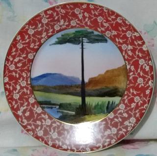 Antigo Prato Porcelana Real Pintura Araucária- Nº 6386n