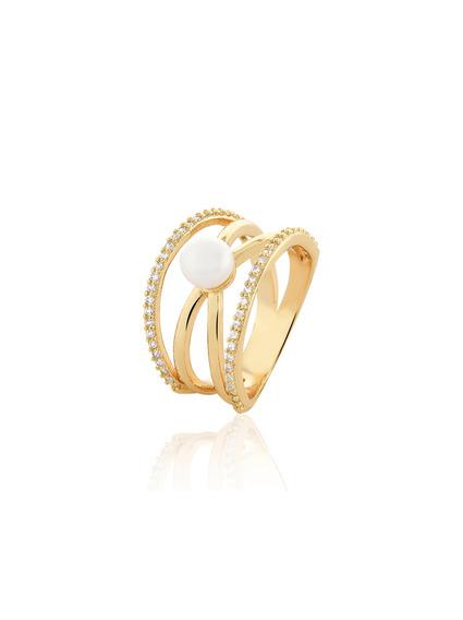 Anel Dourado Folheado A Ouro 18k Zircônias Brancas