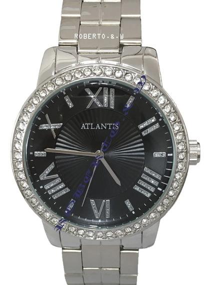 Relógio Feminino Original Atlantis Prata Diamante + Caixinha