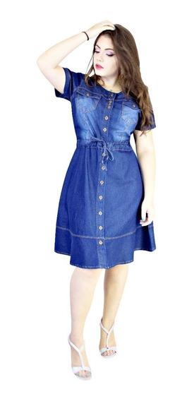 Vestido Moda Evangélico Jeans Com Elastano Evasê Poá Clhoe