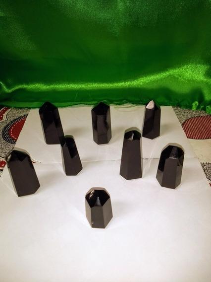 Kit 8 Pontas Obelisco Pedra Obsidiana Negra Meditacao Reiki