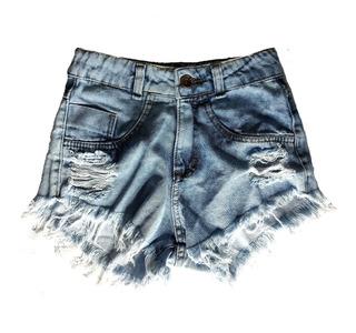 Shorts Jeans Feminino Destroyed Cintura Alta Hot Pants St015