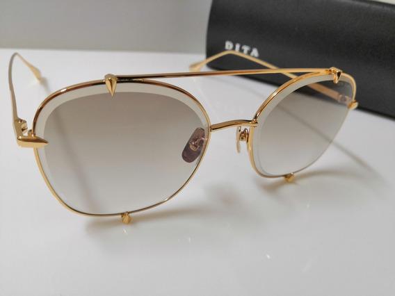 Óculos De Sol Dita Talon Two 23009 Dourado E Marrom Degradê