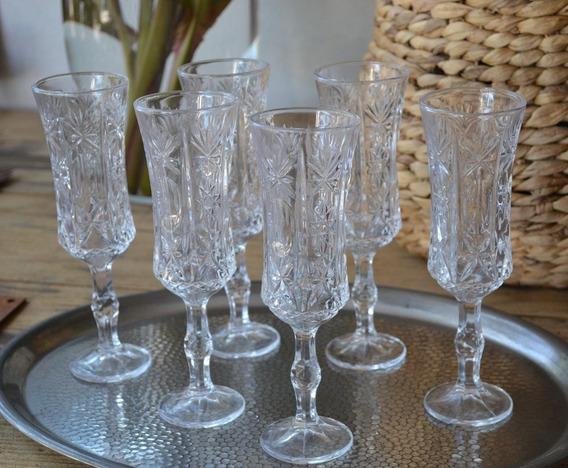Set 12 Copas Champagne De Vidrio Labradas Talladas 20x6cm