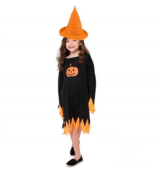 Roupa De Feiticeira Com Chapéu Halloween Infantil + Brinde