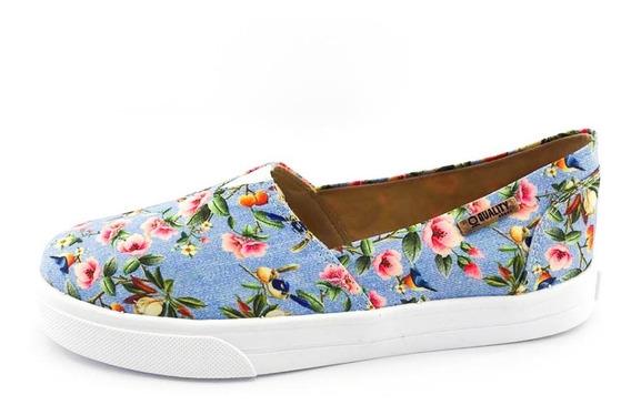 Tênis Slip On Quality Shoes Feminino 002 797 Jeans Floral