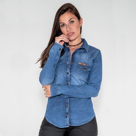 89dccc494a Camisa Jean Feminina Elastano - Camisa Casual Longa Femininas com o ...