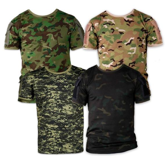 Kit 4 Camisetas Tática Ranger Camuflada Masculina Bélica