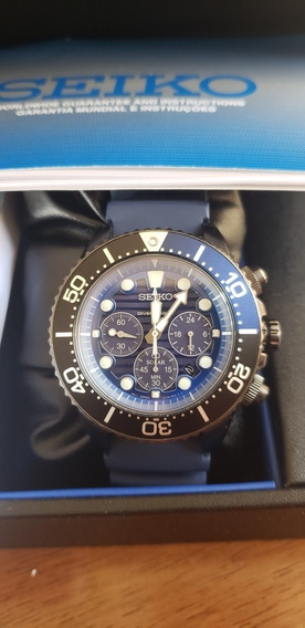Relógio Seiko Cronografo Solar Save The Ocean Ssc701b1 Azul