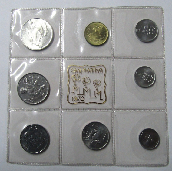 San Marino Set De 8 Monedas 1 A 500 Liras Año 1972 Unc
