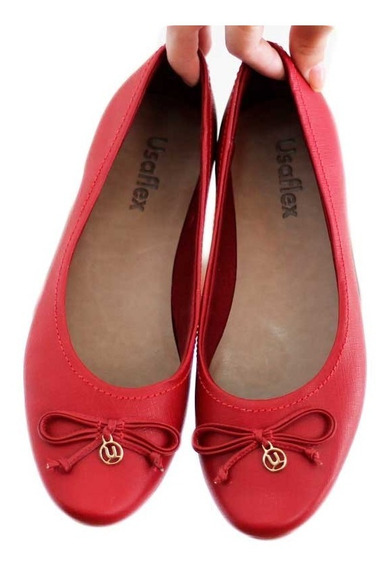 Sapato Cor Vermelho Bordô Usaflex Em Couro. 7506 Compre Já!