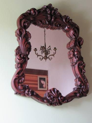 Espelho Suntuoso Luis Xv Com Profundos Entalhes Rococós