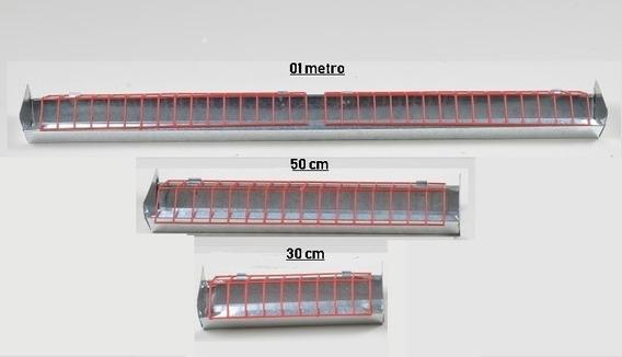 Kit 3x1 Comedouro Calha 1m + 50cm + 30cm Para Aves