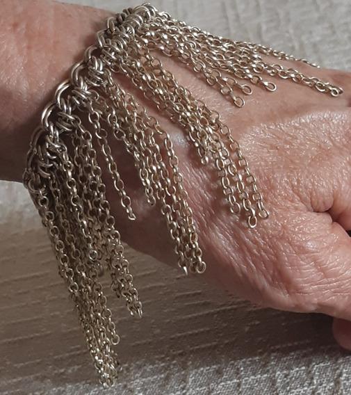 Pulseira Dourada - Pingente Correntes Elos - Bijoux