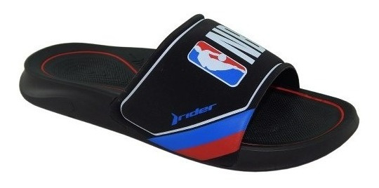 Chinelo Slide Rider Masc Baskete Nba Preto Vermelho 11273