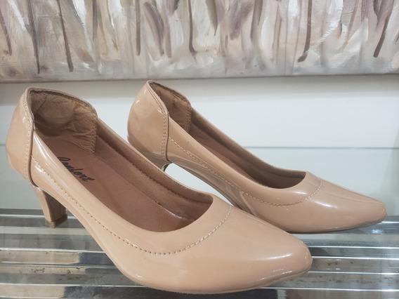 Sapato Scarpin Nude Confortavel Salto Baixo, Costura