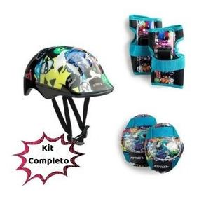 Kit Capacete + Cotoveleira + Joelheira Infantil Skate Patins