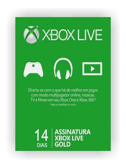 Xbox Live Gold Br Usa Cartão 14 Dias - Código 25 Dígitos !