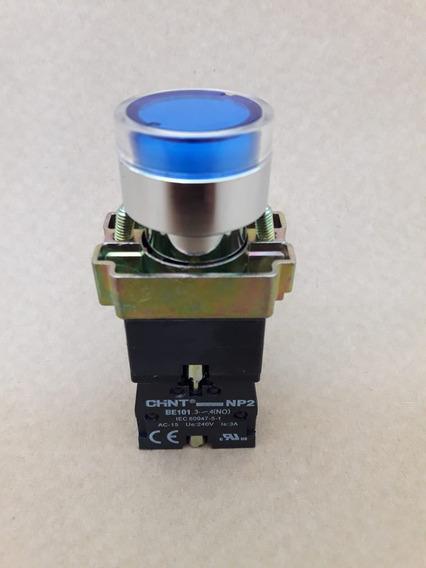 Botão Pulsador Iluminado Metal Azul 1na Np2-bw3661 220v