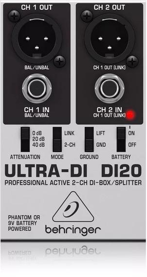 Behringer Di20 Direct Box Ativo 2 Canais Ultra Di 20