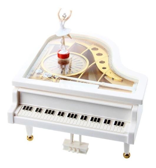 Caixinha Caixa De Música Piano Com Bailarina E Porta Jóias