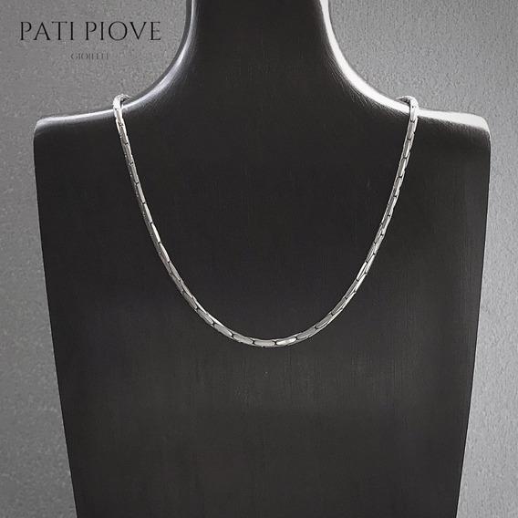 Corrente Prata 925 Cadeado Cardano 40 Cm 3 Maciça 19,4 G 181