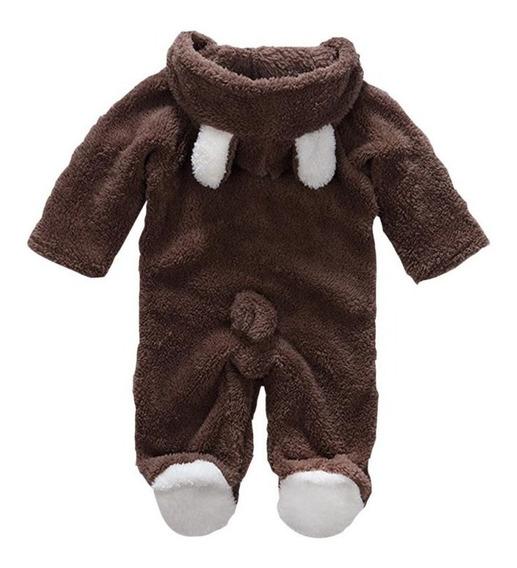 Macacão De Pelúcia Bebê Infantil Orelha Ursinho Inverno