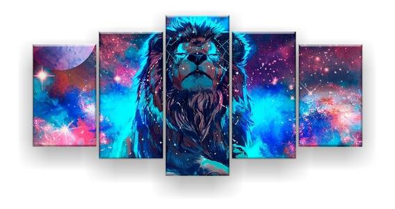 Quadro Decorativo Leão Do Universo 129x61 Sala Quarto