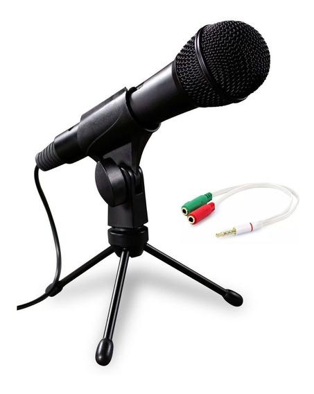 Kit Microfone Para Pc Com Cabo 1.8m Com Tripe De Mesa