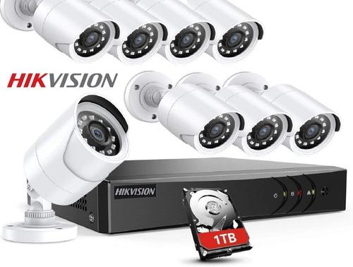 Kit Seguridad Dvr Hikvision 8 Camaras Full Hd Disco Rigido 1tb