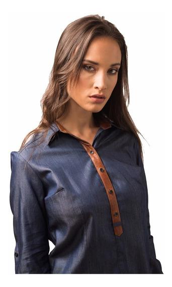 Camisa Simil Jean Combinada Con Cuero Marrón Giacca