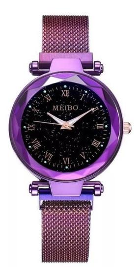 Relógio Feminino Barato Pulseira Magnética Aço Ímã Luxo Lind
