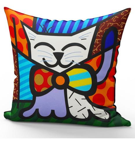 Imagem 1 de 2 de Almofada Decorativa Gato Mod 3 Romero Britto