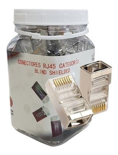 Imagen 1 de 5 de Conector Rj45 Cat6 Blindados 100 Unidades Resistente