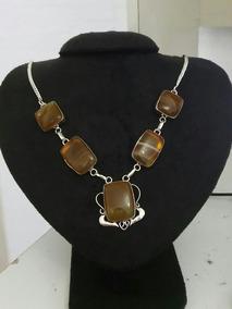 Colar Feminino Prata Indiana Pedras Naturais Fluoritas