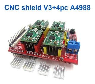 Impresora 3d Cnc Shield V3 Grabador 4 X A4988 Arduino